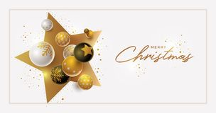 Vector Christmas and new year greeting banner design. With 3d white, black and gold Christmas balls. Clean, white background. Elements are layered separately in vector illustration