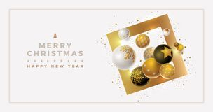 Vector Christmas and new year greeting banner design. With 3d white, black and gold Christmas balls. Clean, white background. Elements are layered separately in stock illustration