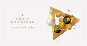 Vector Christmas and new year greeting banner design. With 3d white, black and gold Christmas balls. Clean, white background. Elements are layered separately in royalty free illustration