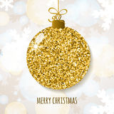 Vector Christmas or New Year greeting card with golden glitter  Stock Photo