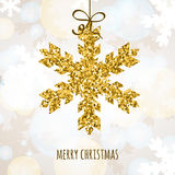 Vector Christmas or New Year greeting card with golden glitter s Royalty Free Stock Photography