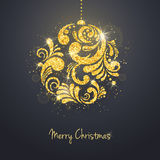 Vector Christmas New Year greeting card with sparkling glitter golden textured Christmas ball Stock Image