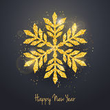 Vector Christmas New Year greeting card with sparkling glitter golden textured snowflake Stock Image