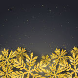 Vector Christmas New Year greeting card with sparkling glitter golden textured snowflake Royalty Free Stock Images