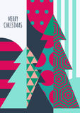 Vector Christmas or New Year greeting card template. Stock Images