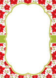 Vector Christmas and New Year Greeting Card Template with a Frame on Poinsettia Background. Royalty Free Stock Image
