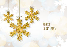 Vector Christmas or New Year greeting card template with golden Royalty Free Stock Image