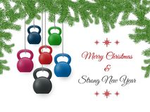 Christmas and New Year greeting card with kettlebells and pine branches. Vector Christmas and New Year greeting Card. Template with ketllebells stylized like royalty free illustration