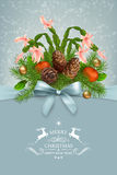 Vector Christmas and New Year greeting card Royalty Free Stock Photo