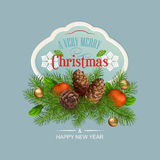 Vector Christmas and New Year greeting card Royalty Free Stock Image