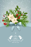 Vector Christmas and New Year greeting card. Tree branches garland with decoration, bow, calligraphic text on abstract holiday backdrop royalty free illustration