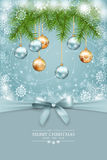 Vector Christmas and New Year greeting card. Tree branches garland with decoration, snowflakes frame, bow and text on abstract holiday backdrop Stock Images