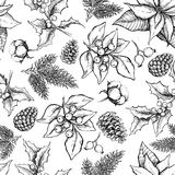 Vector Christmas and New Year hand drawn vintage pattern Stock Photography