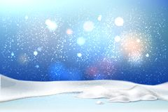 Vector christmas new year holiday poster banner. Vector christmas, new year holiday poster, banner background with frozen lake or ground with snowcaps vector illustration