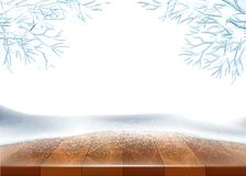 Vector christmas new year holiday poster banner. Vector christmas, new year holiday poster, banner background with wooden table covered with ice, snow with vector illustration