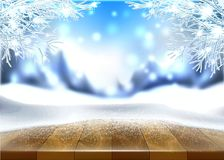 Vector christmas new year holiday poster banner. Vector christmas, new year holiday poster, banner background with wooden table covered with ice, snow with royalty free illustration