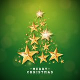 Vector Christmas and New Year illustration with Christmas Tree made of cutout paper stars on green background. Holiday Stock Photography