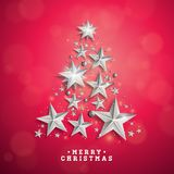 Vector Christmas and New Year illustration with Christmas Tree Royalty Free Stock Image