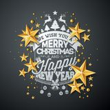 Vector Christmas and New Year illustration with typography and cutout paper stars on black background. Holiday design Stock Photo