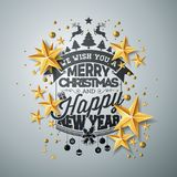 Vector Christmas and New Year illustration with typography and cutout paper stars on clean background. Holiday design. For greeting card, poster, banner Royalty Free Stock Images