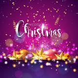 Vector Christmas and New Year Illustration with Typography and Cutout Paper Stars on Dark Background. Holiday Design for. Vector Merry Christmas Illustration Stock Photo
