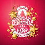 Vector Christmas and New Year illustration with typography and cutout paper stars on red background. Holiday design for Stock Image