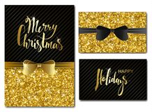 Vector Christmas and New Year Invitation Cards with Shiny Glitter and Decorative Bows. Gold Glitter Texture, Sequins Pattern. Ligh Stock Images