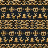 Vector Christmas or New Year knitted seamless pattern. Happy Holidays pixel endless background. Gold festive texture. Vector Christmas or New Year knitted Stock Photos