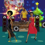 Vector Christmas New Year party invitation disco style. Club, dj. With sound system, crowd afro women in festive dresses. Vector template party poster royalty free illustration