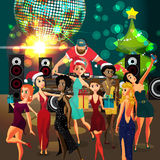 Vector Christmas New Year party invitation disco style Royalty Free Stock Image