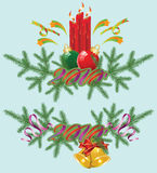 Vector Christmas & New-Year's greeting card Royalty Free Stock Photography