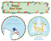 Vector Christmas & New-Year's greeting card Royalty Free Stock Photos