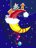 Vector Christmas & New-Year's moon Stock Images