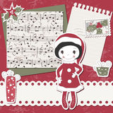 Vector Christmas and New Year scrapbook card Royalty Free Stock Images