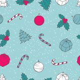 Vector Christmas and New Year seamless pattern Stock Image