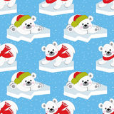 Vector Christmas and New Year Seamless Pattern with Polar Bears. Royalty Free Stock Photos
