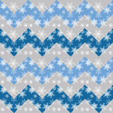 Vector Christmas and New Year Seamless Pattern with Snowflakes and Chevron. Royalty Free Stock Photos