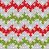 Vector Christmas and New Year Seamless Pattern with Snowflakes and Chevron. Stock Photography