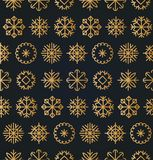 Vector Christmas or New Year seamless pattern. Snowflakes texture for greeting cards, posters concepts or festive pack.  Royalty Free Stock Photography