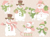 Vector Christmas and New Year Set with Cute Cartoon Snowmen and Winter Elements. Vector set of cute cartoon snowmen on pastel background. Vector set of snowman Stock Image