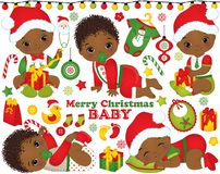 Vector Set with Cute African American Baby Boys Wearing Christmas Clothes and Xmas Elements. Vector Christmas and New Year set with cute little African American Stock Illustration