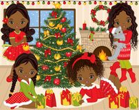 Vector Christmas and New Year Set with Cute Little African American Girls and Winter Elements. Vector Christmas and New Year set with cute little African Stock Image