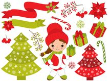 Vector Set with Cute Little Girl and Christmas Festive Elements. Vector Christmas and New Year set with cute little girl, Xmas tree, gift boxes, snowflakes Royalty Free Stock Photography