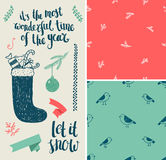Vector Christmas, New Year set. Hand drawn winter. Holiday elements, seamless patterns, lettering. , easy editing royalty free illustration