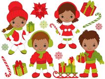 Vector Christmas and New Year Set with Little African American Kids and Winter Elements. Vector Christmas and New Year set with little African American kids Royalty Free Stock Image