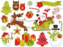 Vector Set of Santa Claus and Christmas Festive Elements. Vector Christmas and New Year set with Santa Claus, snowman, owls, reindeer, trees, sledge, poinsettia Royalty Free Stock Photos
