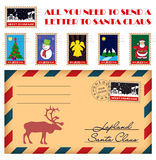 Vector Christmas and New Year stamps and envelope. All you need to send a letter to Santa Claus Royalty Free Stock Photos
