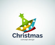 Vector Christmas or New Year star decoration logo template. Abstract business icon stock illustration