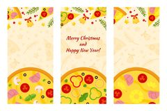 Vector Christmas and New Years flyers of Pizza and Pizzeria. Three vertical Pizza banners with ingredients and text on background royalty free illustration