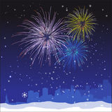 Vector Christmas New York Background. Vector Christmas ans New Year  New York background with fireworks and snow Stock Photography